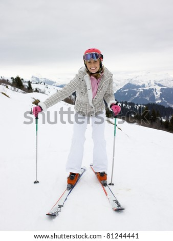 Young Woman On Skis - stock photo