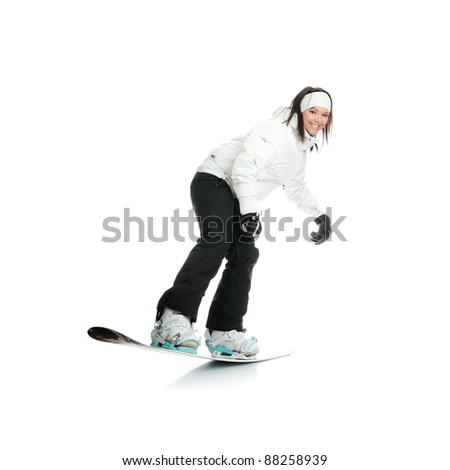 Young woman on snowboard isolated on white background