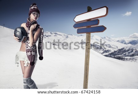 Young woman on the slope - stock photo