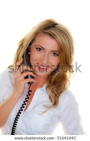 Young woman on the telephone a customer service hotline