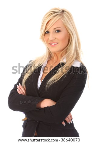 Young woman on white background - stock photo