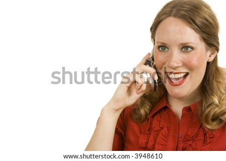 Young woman on white using cell looking happy