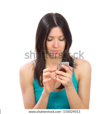 Young woman online banking using her modern mobile cellphone finger touch the screen on a white background - stock photo