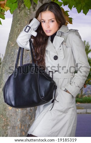 young woman outdoor autumn portrait - stock photo