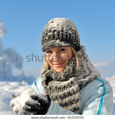 young woman outdoor in winter - stock photo