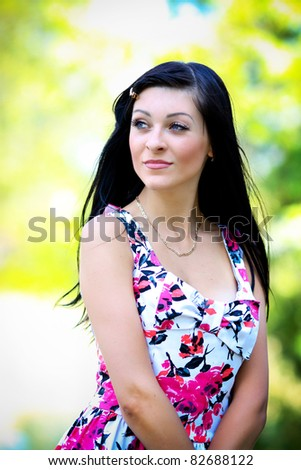 Young woman outdoors portrait.
