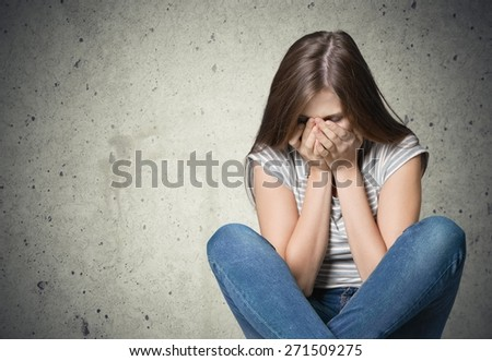 Young, woman, pain. - stock photo