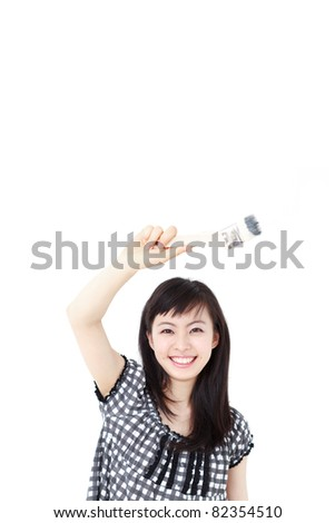 young woman painting something with paintbrush, isolated on white background - stock photo