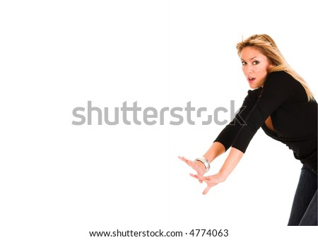 young woman panic on white background