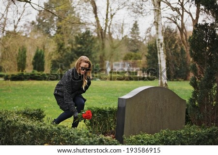 Young woman placing flowers on the grave of a deceased family member at cemetery. Young lady at the cemetery paying respects with fresh roses. - stock photo