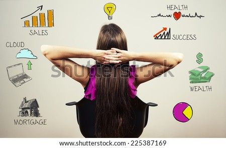 Young woman planning her life ahead - stock photo