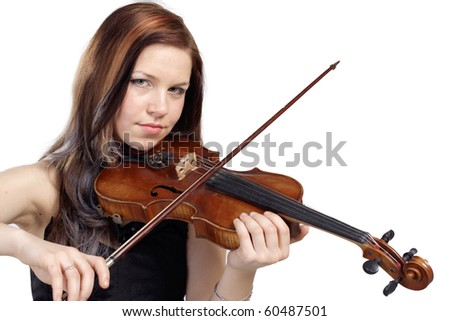 Young woman play the violin isolated in white background - stock photo
