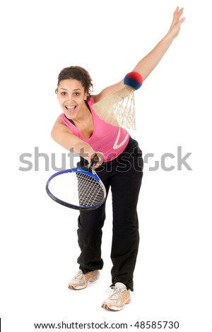 young woman playing badminton isolated on white background