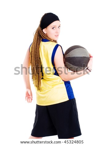 young woman playing game with basketball over white - stock photo