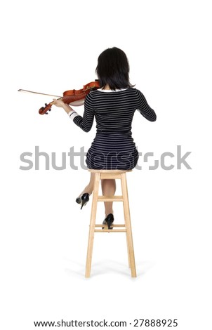 Young woman playing on a violin and seducing isolated over white - stock photo
