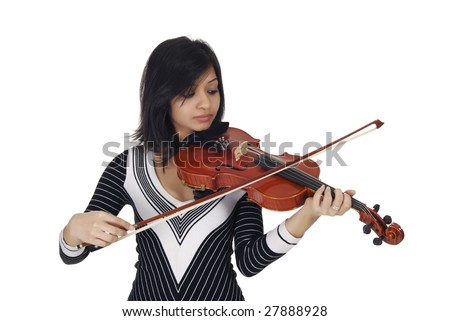 Young woman playing violin isolated over white - stock photo