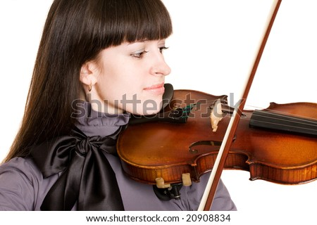 young woman playing violin over white background. - stock photo