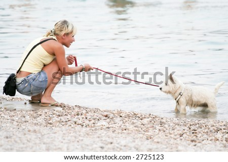 young woman playing with a dog in the shoal - stock photo
