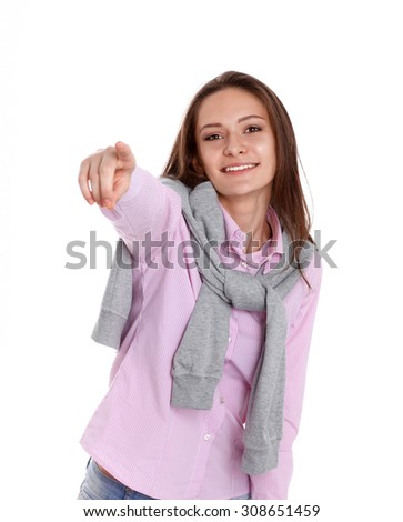 Young woman point finger at you  on white background - stock photo