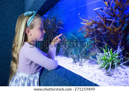 Young woman pointing fish in tank at the aquarium - stock photo