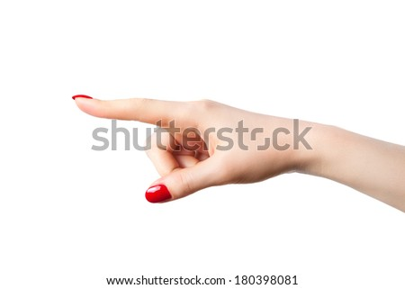 Young woman pointing hand. Isolated on white. - stock photo