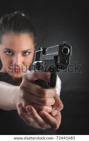 Young woman  Police with a gun