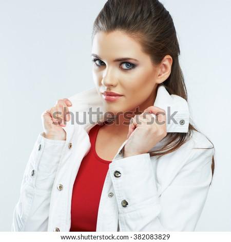 Young woman portrait. Beautiful model. Studio. - stock photo