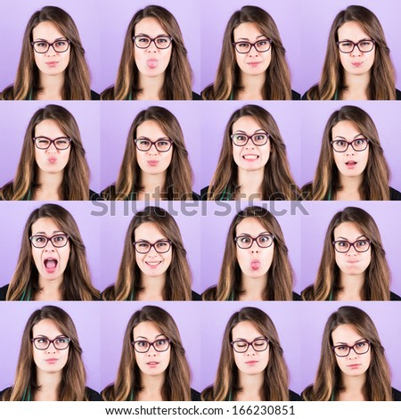 Young Woman Portrait, Collection of Expressions - stock photo