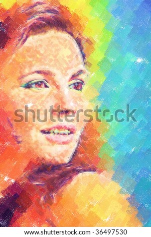 Young woman portrait. Draw. - stock photo