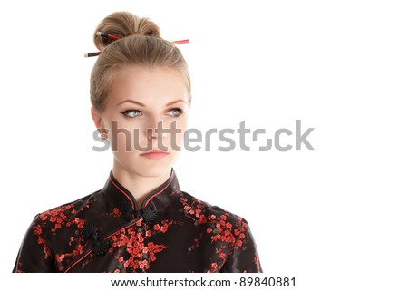 Young woman portrait in oriental style