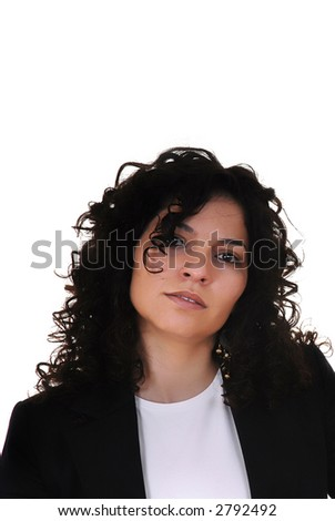 young woman portrait in white background
