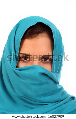 Young woman portrait, isolated in white background - stock photo