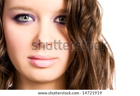 Young woman portrait. Isolated on white. - stock photo