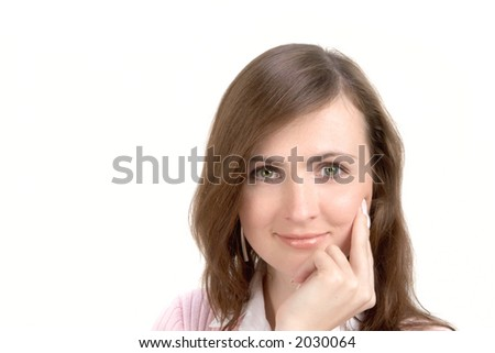 Young Woman Portrait Isolated Over White Background - stock photo
