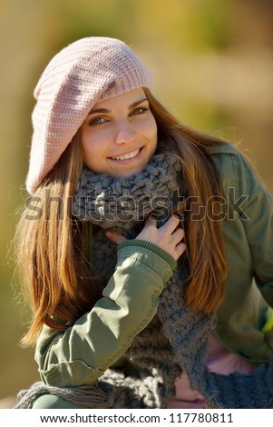 young woman portrait outdoor - stock photo