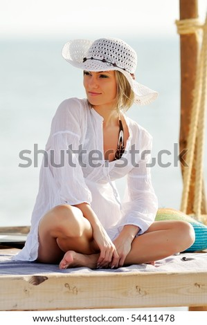 young woman portrait outdoor in summer - stock photo