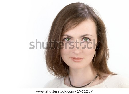 Young Woman Portrait Over White - stock photo