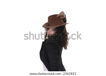 young woman portrait posing with a hat