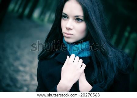 Young woman portrait. Soft blue tint. - stock photo