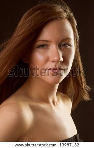 young woman portrait, studio shoot - stock photo
