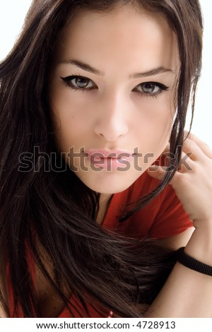 young woman portrait, studio shoot - stock photo