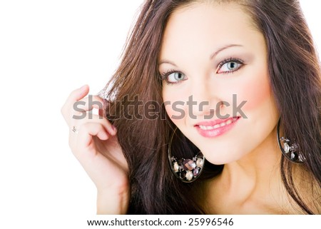 young woman portrait, studio shoot isolated
