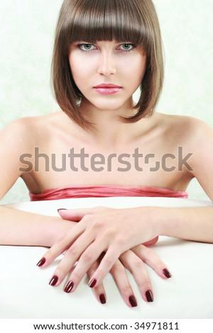 young woman portrait, studio shot - stock photo