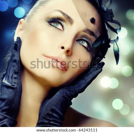 Young Woman portrait.Vintage Make-up - stock photo