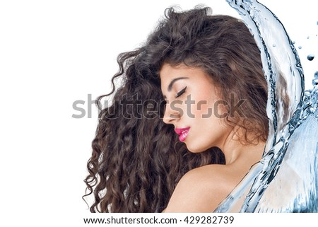 Young woman portrait with clean water splash - stock photo
