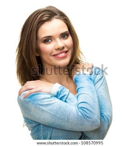 Young woman portrait with toothy smile isolated on white background