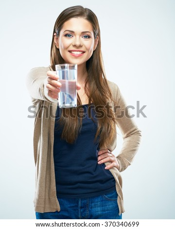 Young woman portrait with water glass. White background isolated.