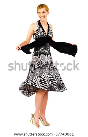 Young woman posing and smiling isolated over white
