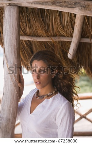 Young woman posing for the camera - stock photo