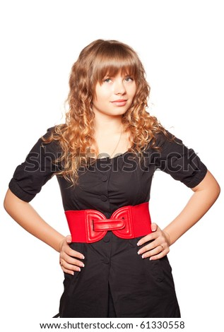 Young woman posing on a white background - stock photo